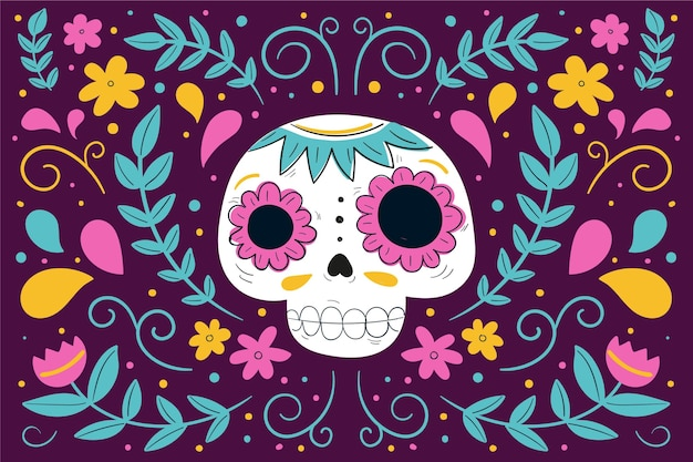 Day of the dead background hand drawn style