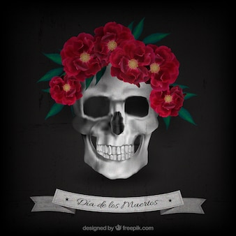 Day of the dead background of skull with realistic flowers