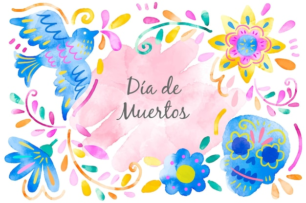 Day of the dead background watercolor style