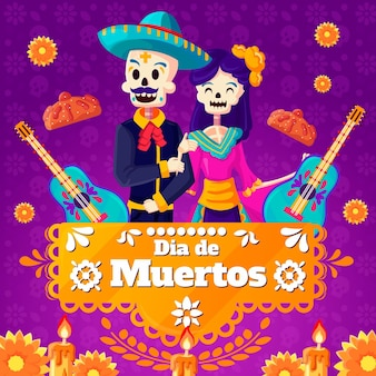 Day of the dead background with couple
