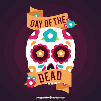 Day of the dead background with mexican decorative skull