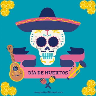 Day of the dead background with skull and mexican hat