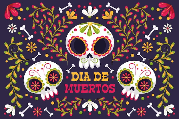 Day of the dead background with skulls