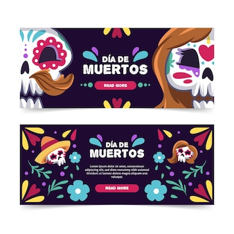 Day of the dead banners flat design