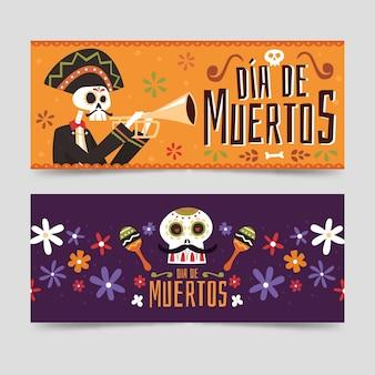 Giorno dei morti banner design piatto