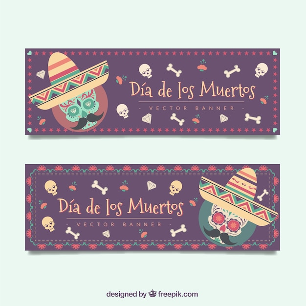 Day of the dead banners of mexican skulls and bones