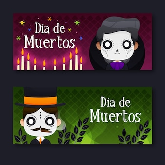 Day of the dead banners style illustrated
