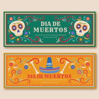 Day of the dead banners vintage design