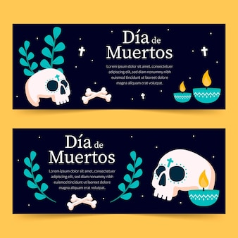 Day of the dead banners with bones