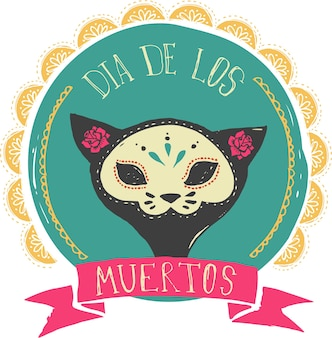 Day of the dead card with mexican cat skull