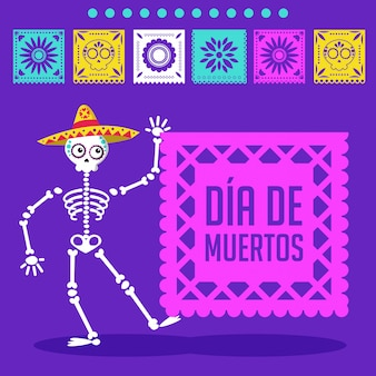 Day of the dead cartoon card