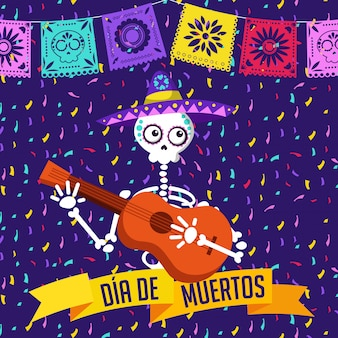 Day of the dead cartoon card