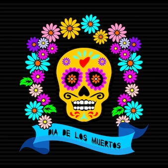 Day dead , catrina character with floral frame