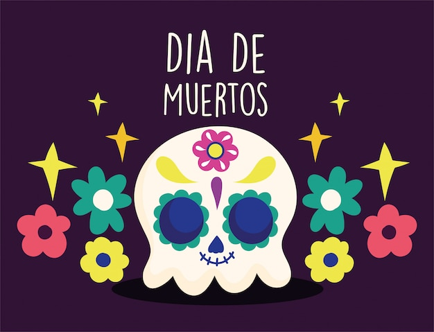 Day of the dead, catrina flowers floral decoration traditional mexican celebration