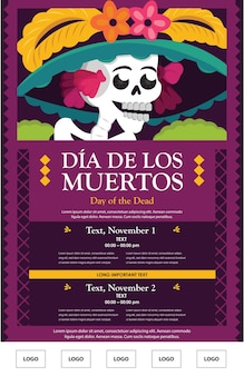 Day of the dead catrina poster template
