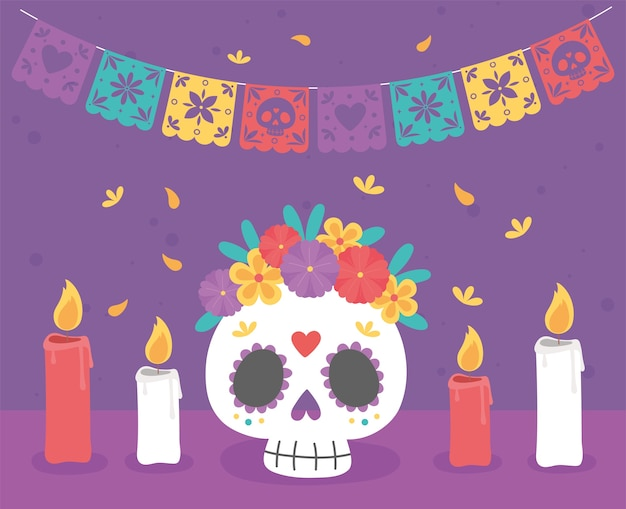 Day of the dead, catrina with flowers burning candles traditional mexican celebration.