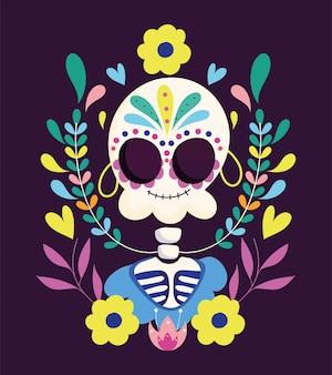 Day of the dead, catrina with flowers earrings decoration traditional mexican celebration