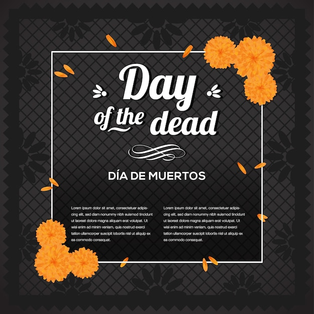 Day of the dead circle frame composition