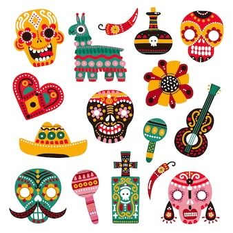 Day of dead. decorative skulls, guitar and sombrero, llama and hot pepper, heart and grave. mexican dia de los muertos vector set