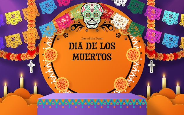 Day of the dead dia de los muertos 3d podium round square stage with paper cut