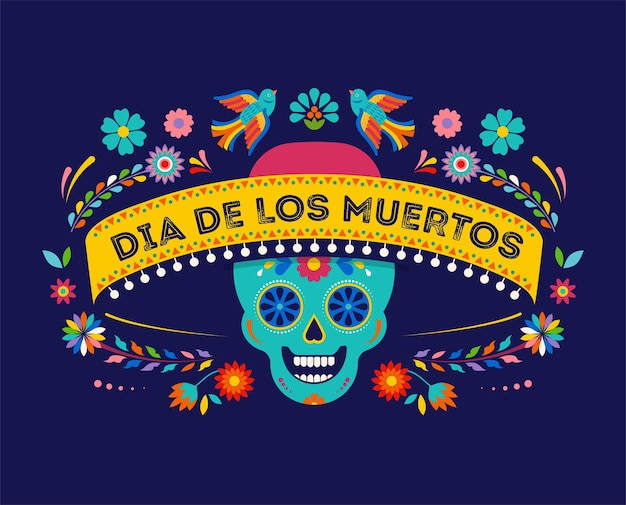 Day of the dead dia de los muertos background banner and greeting card concept with sugar skull