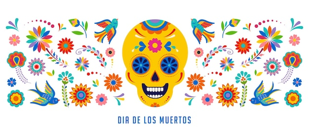 Day of the dead dia de los muertos background banner and greeting card