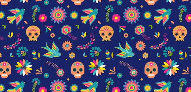Day of the dead dia de los muertos background and seamless pattern