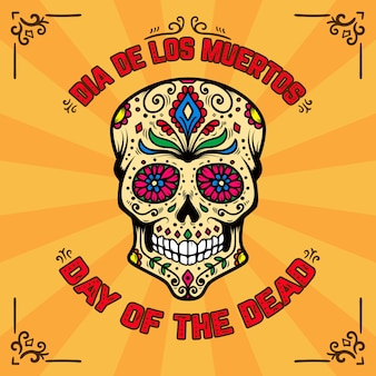 Day of the dead. dia de los muertos. banner template with mexican sugar skull on background with floral pattern.  element for poster, card, flyer, t shirt.  illustration