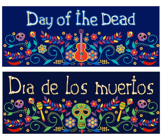 Day of the dead dia de los muertos banners with colorful mexican flowers fiesta holiday posters