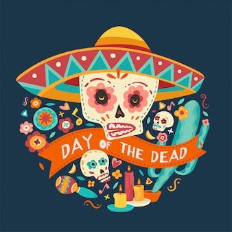 Day of the dead, dia de los muertos illustration.
