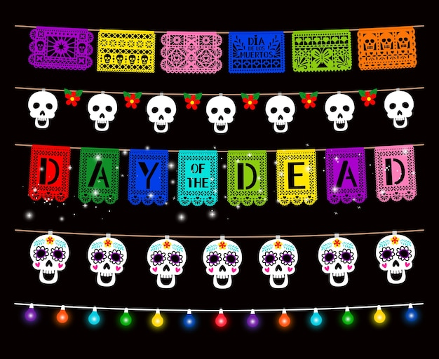 Day of dead, dia de los muertos, party decorations set. traditional garlands isolated pack. glowing color lamps, sugar skull hanging on string design element.