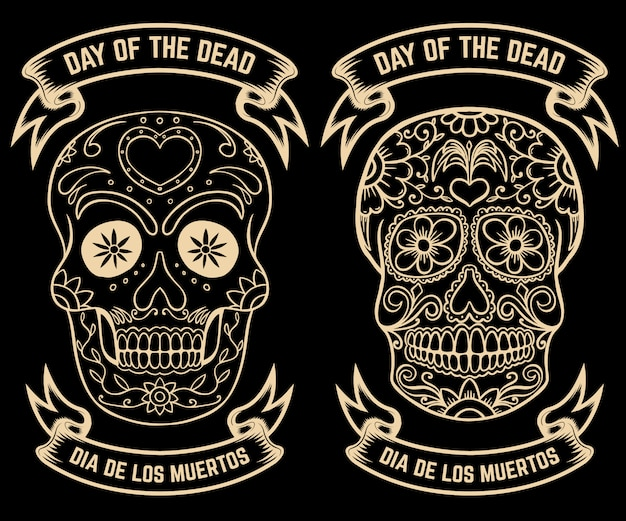 Day of the dead. dia de los muertos. set of the sugar skulls.  elements for poster, greeting card, .  illustration
