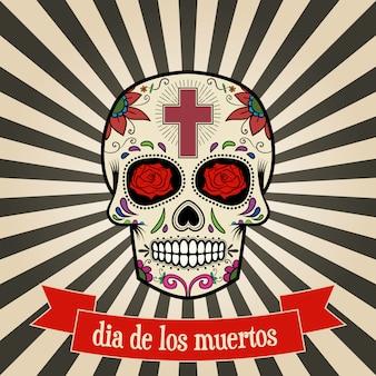 Day of the dead. dia de los muertos.  sugar skull on vintage background with banner.