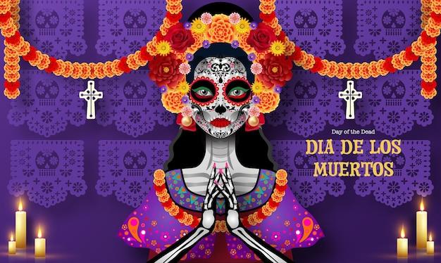 Day of the dead dia de los muertos sugar skull with marigold flowers