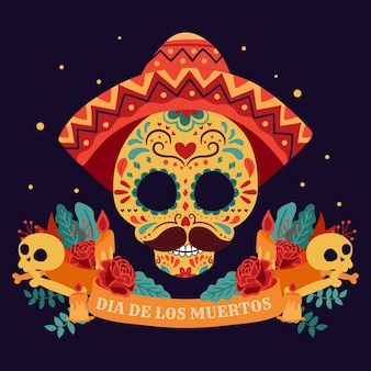 Day of the dead, dia de los muertos, with colorful mexican flowers.