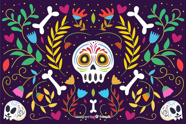 Day of the dead flat background