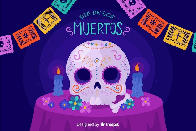 Day of the dead flat design background