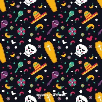 Day of the dead flat design pattern