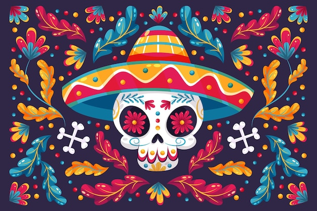 Day of the dead floral background