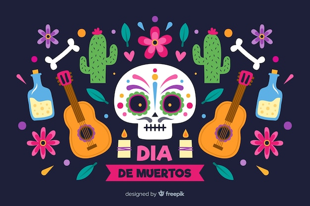Day of the dead hand drawn background