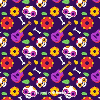 Day of the dead hand drawn pattern