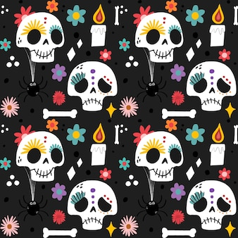 Day of the dead hand drawn pattern Free Vector