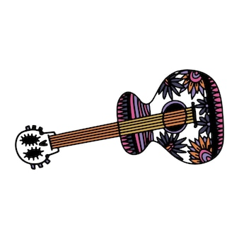 Day of the dead  hand drawn sketch for mexican holiday dia de los muertos guitar with the image