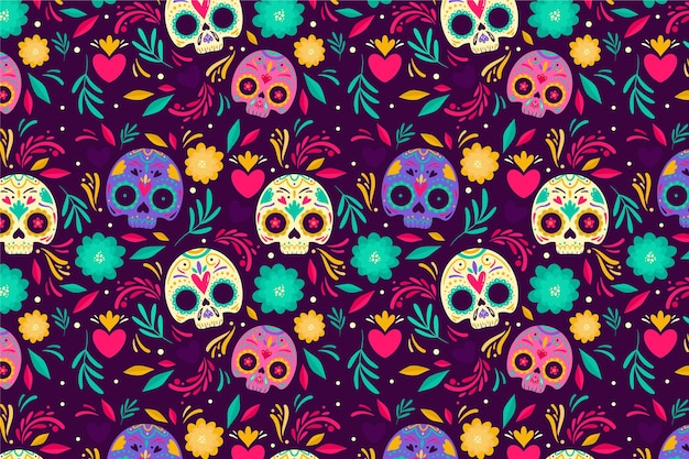 Day of the dead hand drawn style pattern