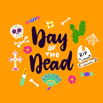 Day of dead handwritten card vector illustration of greeting postcard design with lettering