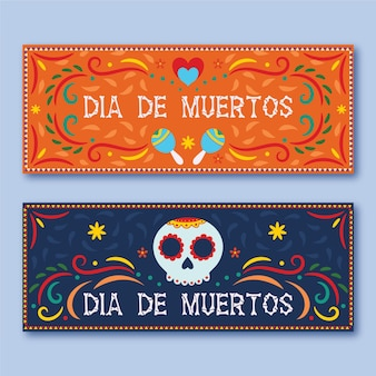 Day of the dead horizontal banners flat design