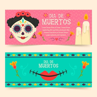 Day of the dead horizontal banners