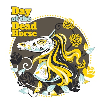 Day of the dead horse illustration for greeting card and poster