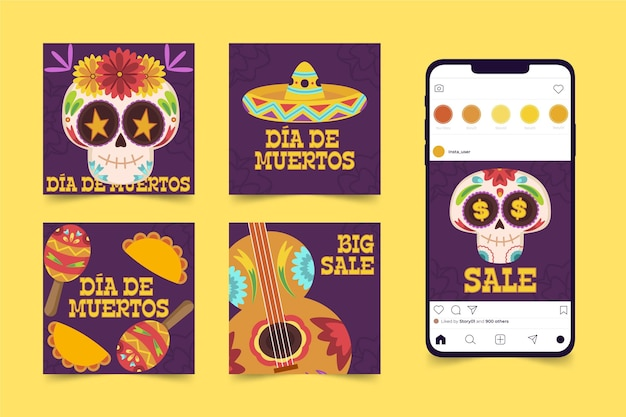 Day of the dead instagram posts concept
