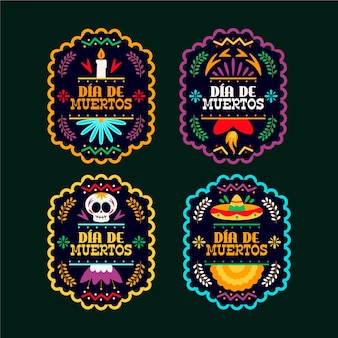 Day of the dead label set
